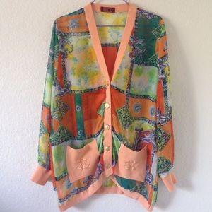 vintage sheer chanel scarf print cardigan