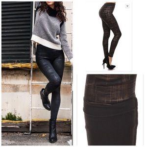 Vivacouture Pants - Best plaid foil print High Waist fleece leggings