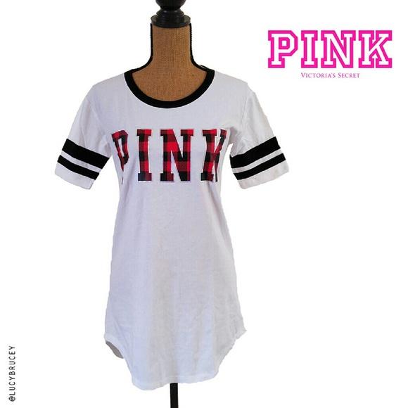 21defdb259 PINK Pajama Long Tshirt Nightgown Sleepwear XS