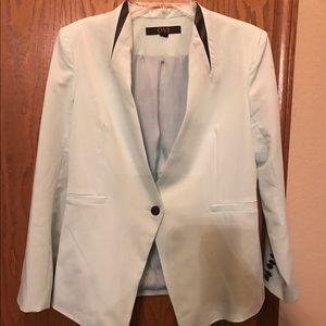 OVi mint and black leather detail blazer
