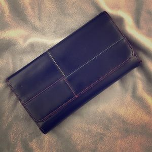 Handbags - ⬇️ Black Leather Wallet w/Rainbow Stitching