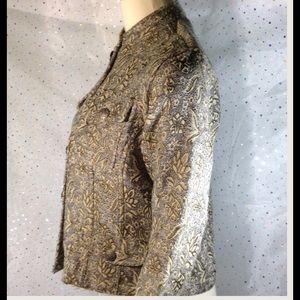 Chico's Jackets & Coats - CHICO'S Silver Cropped Brocade Blazer 0 Small 4 6