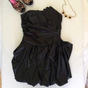 Black Satin Strapless Bubble Dress