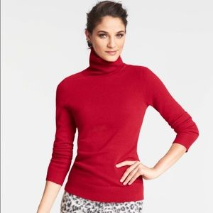 Ann Taylor Loft turtleneck sweater classy deep red