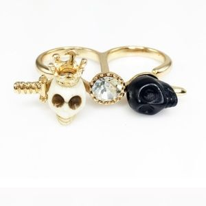 Adia Kibur Jewelry - Skull & Crystal Double Ring by Adia Kibur