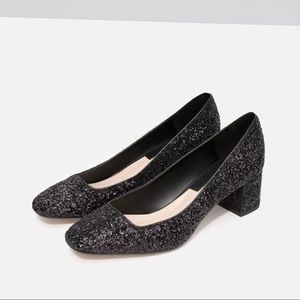 Zara black glitter pumps -- size 8