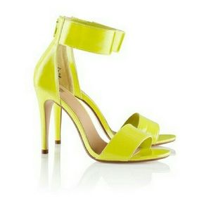 Women's Neon Yellow Ankle Strap Heels on Poshmark