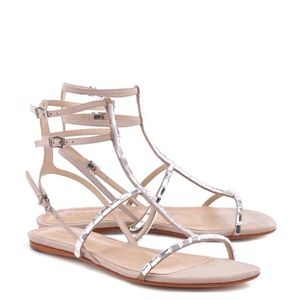 SCHUTZ Shoes - Schutz Oyster Embellished Suede Sandals