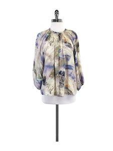 Tucker- Beige Abstract Print Silk Blouse Sz M