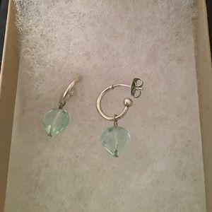 Small open hoop w/ light blue faux stone earrings