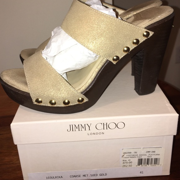 0dd2988871a Jimmy Choo Shoes - Jimmy Choo Metallic Suede Platform Sandal size 41