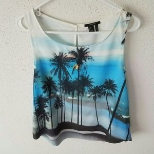 Forever 21 Palm Tree Print Top