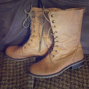 Shoes - light brown combat boots (NWT)