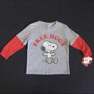 "Peanuts Other - NWT Peanuts ""Free Hugs"" Long Sleeved Tee 18 MO."