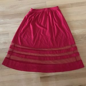 Red Aline Midi Skirt