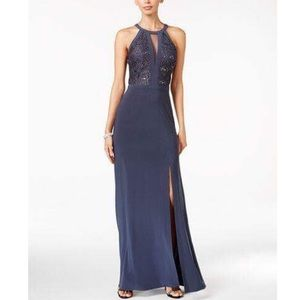 Nightway Dresses & Skirts - Nightway Lace-Trim Navy Halter Gown