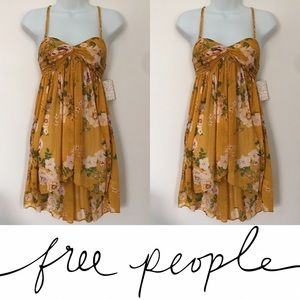 Free People Tops -   Free People   Mustard Yellow Floral Hi Low Tank