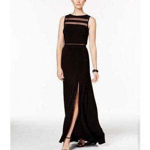 Nightway Dresses & Skirts - Nightway Front-Slit Black Illusion Gown - NWT