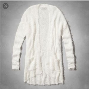 Abercrombie & Fitch Sweaters - Abercrombie and fitch fuzzy white cardigan