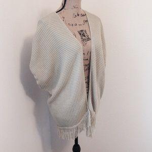 Fringed poncho sweater!