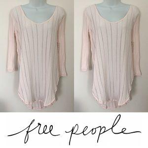 Free People Tops -   Free People   Blush Pink Astoria Ribbed Slit Tee
