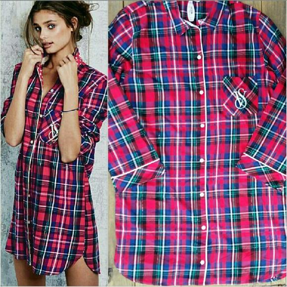 a6d9de38d0c Victoria s Secret Plaid Dreamer Flannel Sleepshirt