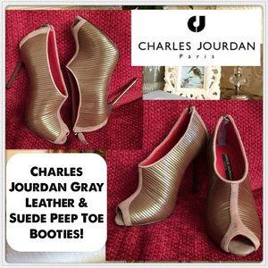 Charles Jourdan Shoes - Charles Jourdan Leather & Suede Peep Toe Booties!