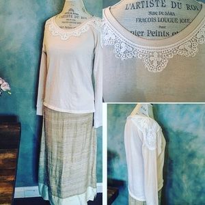 American Rag Tops - Gorgeous knit lace top in beige