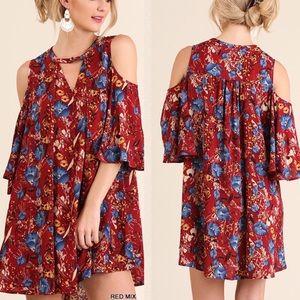 Pink Peplum Boutique Dresses & Skirts - 🆕 Red floral cold shoulder dress keyhole neckline