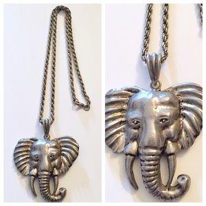 Vintage Jewelry - Vintage 1970's Heavy Elephant Pendant / Necklace