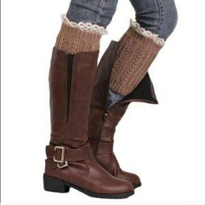 Three Pack of Merino Wool Crochet Lace Boot Cuffs