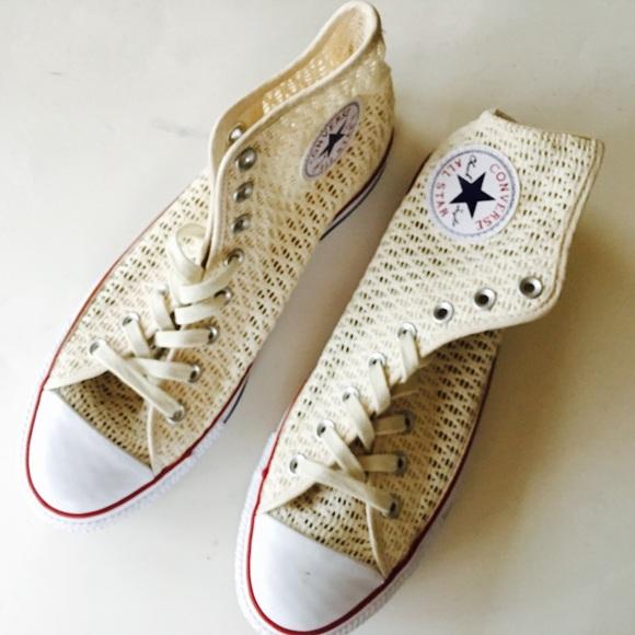 New Converse Cream White Mesh Hi Top