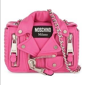 Authentic Moschino Pink Leather Jacket Bag