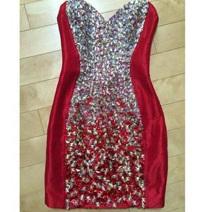 Jovani Dresses & Skirts - Red gorgeous beaded mini dress