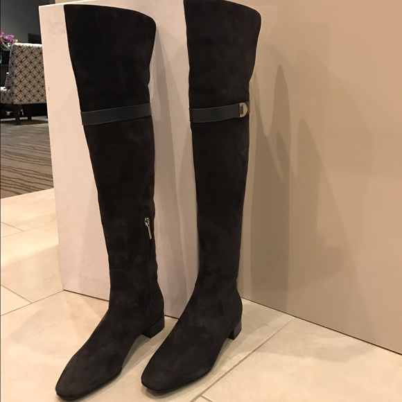 73cb53d2383 Dior, Gray Suede Thigh High Boots 36 Boutique