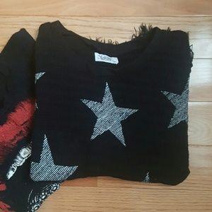 Lauren Moshi Tops - Lauren Moshi Scribble Mini Stars Knit Top