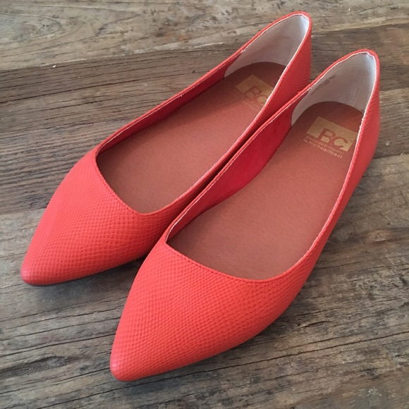 Red Leather Pointed Toe Flats