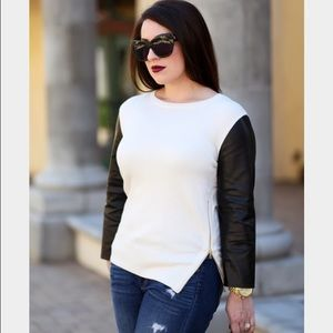 Ann Taylor Sweaters - Ann Taylor Faux Leather Slv Sweater