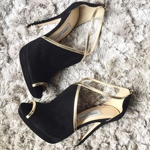 Jimmy Choo Shoes - ✨BNWT✨JIMMY CHOO Black Suede & Gold Accent Straps