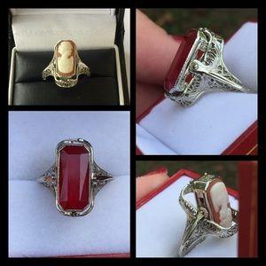 Vintage Jewelry - 14k WG Art Deco Filigree Ruby/Cameo Ring