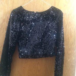 2ec56534c942d ASOS Tops - Black long sleeve sequin crop top