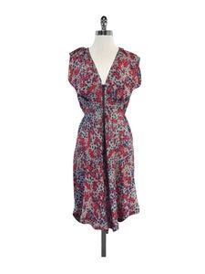Suno Dresses & Skirts - Suno- Grey, Red & Teal Tie Back Silk Dress Sz S