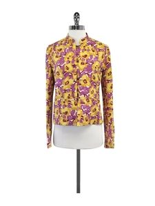 Dries Van Noten- Yellow & Purple Floral Print Jacket Sz 4