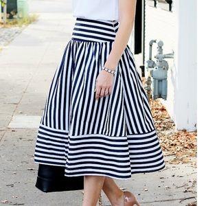JOA striped a-line skirt