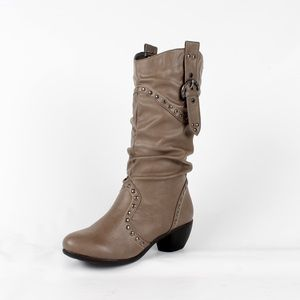 Shoes - Grey mid calf cowboy boot (Laura-2 Grey)