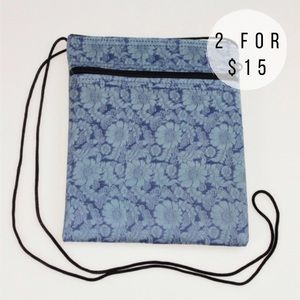 Handmade Handbags - Blue Sunflower Print Silk Festival Crossbody