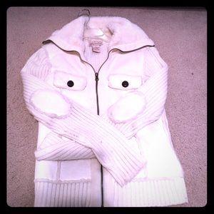 sale!!!!! Faux shearling sweater coat size s