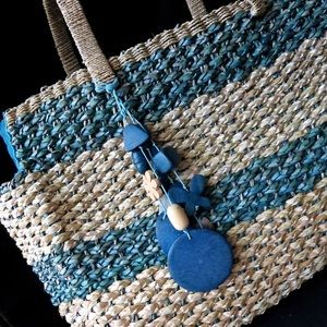 Large Wicker Abalone Seashell Beach Tote Bag Purse for sale