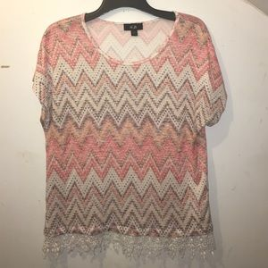 AGB Tops - Coral Chevron Top