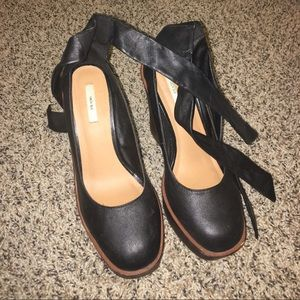 Urban Outfitters Lace up wood and leather heels